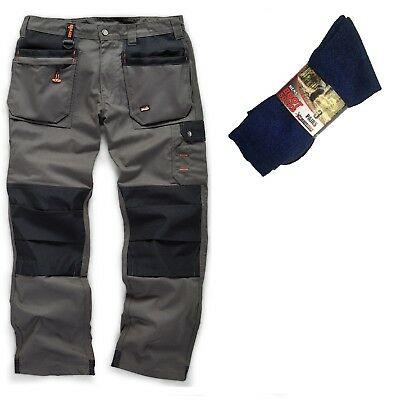 Scruffs WORKER PLUS Work Trousers Graphite Grey & 3 Pairs Of Boot Socks • 30.95£