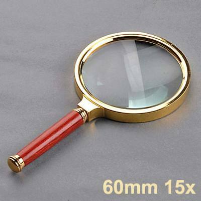 60mm Handheld 15X Magnifier Magnifying Glass Loupe Reading Jewelry Aid Big Large • 2.99£
