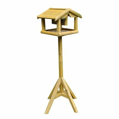 £23.90 • Buy Deluxe Wooden Bird Table With Built In Feeder Free Standing Bird Feeding Station