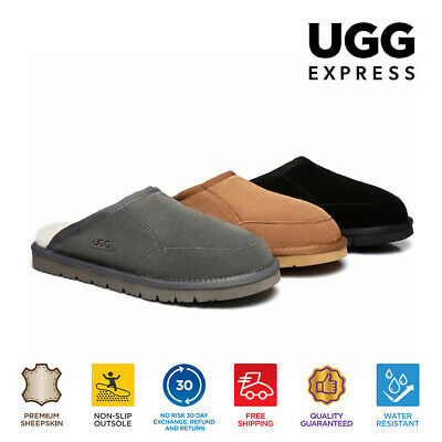 AU55 • Buy UGG Water Resistant Men Slippers Scuffs Bred - Suede Upper & Premium Wool