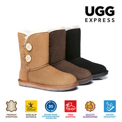 AU110 • Buy UGG Ladies Classic Short/Medium 2 Buttons Boots, Premium Australian Sheepskin
