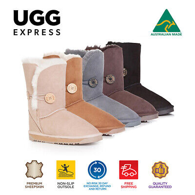 AU35 • Buy Australian Made Ladies Short Button UGG Boots Genuine Sheepskin, Non Slip Rubber