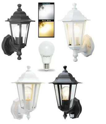6 Sided Outdoor Wall Lantern Black Or White Motion Sensor Detector PIR Sensor • 18.75£