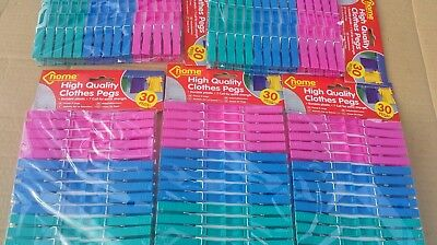 150 Plastic Clothes Pegs. Household Laundry Washing Line, Camping 5 Packs Of 30. • 8.75£
