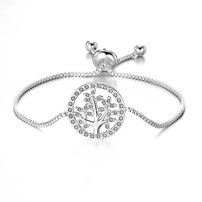 Silver Tree Of Life Bracelet Created With Swarovski® Crystals By Philip Jones • 10.95£