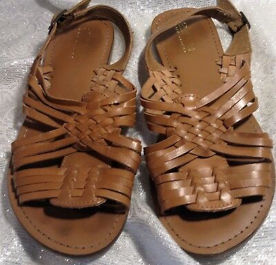 ee7767ada666 A.n.a.~ Brown Leather Weaved~ Flat SLINGBACK SANDALS~ Made In INDIA ~ Size  7.5