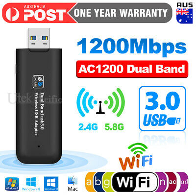 AU15.95 • Buy 1200Mbps USB 3.0 Wireless WiFi Network Receiver Adapter 5GHz Dual Band Dongle