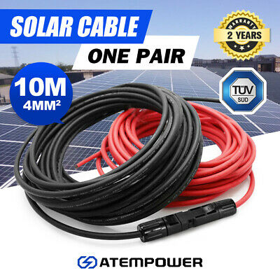 AU36.95 • Buy 2 X 10M Extension Cable Wire MC4 Connectors Solar Panel To Regulator 4mm2 10Awg