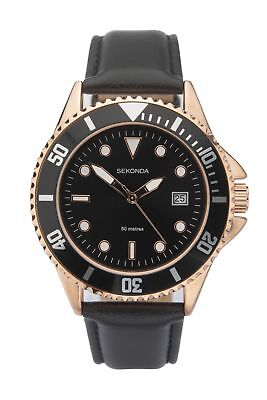 £24.99 • Buy Sekonda Mens Watch With Black Leather Strap And Black Dial 1515