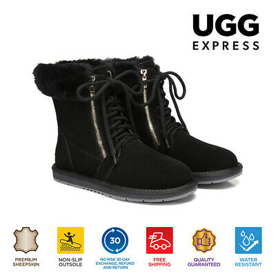 AU64 • Buy UGG Water Resistant  Lace Zip Ladies Short Boots - Suede Australian Sheepskin