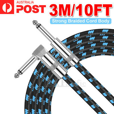 AU10.25 • Buy 3M Electric Guitar Lead Cord Cable 6.35mm 1/4  Jacks For Amp Pedals Instrument