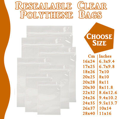 Extra Large Grip Seal Zip Lock Polythene Resealable Clear Plastic Bags 1-100,000 • 4.99£