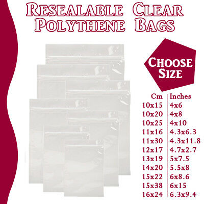Large Grip Seal Zip Lock Polythene Self Resealable Clear Plastic Bags 1 -100,000 • 3.69£