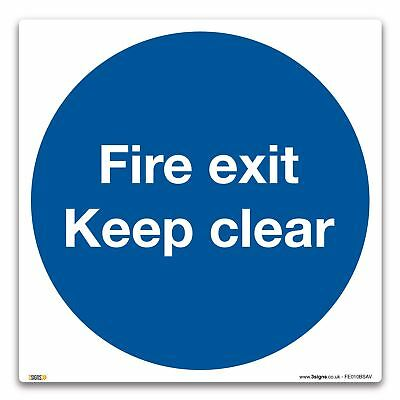 Escape Route Keep Clear Sign - Self-adhesive Vinyl Sticker - Fire Action Safety • 3.99£