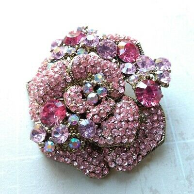 New Gold Tone Rose Pink Crystal Flower Dress Brooch In Gift Box Wedding Prom • 9.99£