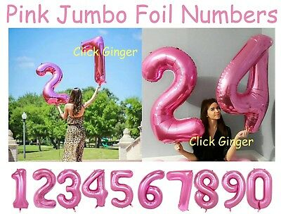 AU3.85 • Buy Pink Jumbo Giant Foil Number Balloons Helium Quality Numbered Balloon Age Party