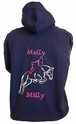 Personalised Embroidered Horse Pony Hoodie Jumping Outline, Change The Colours • 16.99£