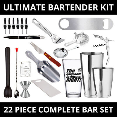 Ultimate 22 Piece Complete Bar Kit For Professional Bartenders And Home Bar Set • 69.95$