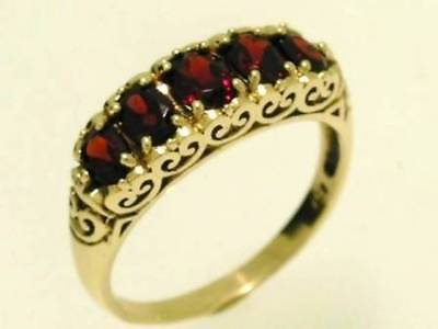 AU369.64 • Buy R247 Genuine 9ct 9K Yellow Gold Natural Garnet Bridge Eternity Ring In Your Size