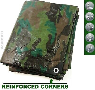 Camo Camouflage Tarpaulin Strong Army Waterproof Camping Ground Sheet & Outdoor • 9.99£