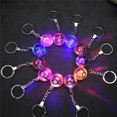 Crystal Ball KeyRing Chain 3D Pokemon Pokeball Pikachu Pendant LED Night Light • 10.99£