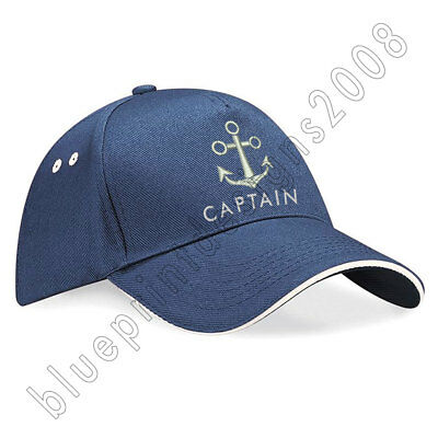 Unisex Peaked Skipper Sailors Navy Captain Boating Hat Adult Cap Embroidered Cap • 12.95£