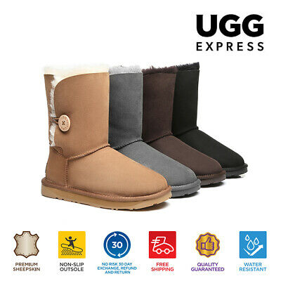 AU32 • Buy 【EXTRA17%OFF】UGG Ladies Short Wooden Button Boots Double Face Sheepskin