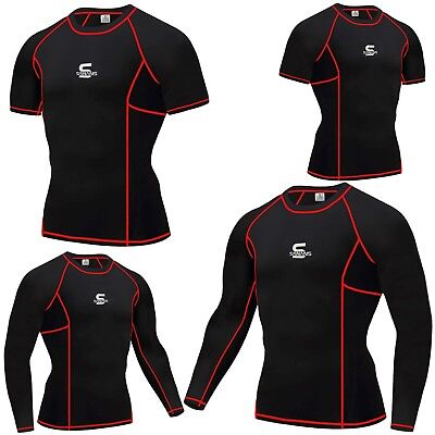 £8.99 • Buy SAWANS Mens Compression Armour Base Layer Top Sleeve Thermal Gym Sports Skin Fit
