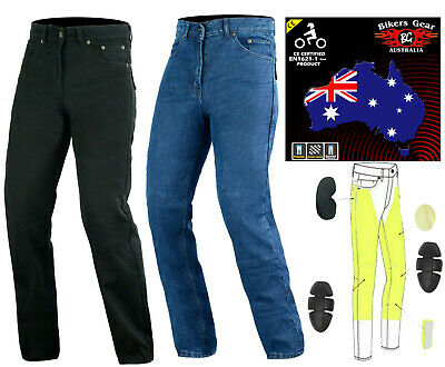 Australian Bikers Gear Mens Motorcycle Jeans Trouser Lined With Kevlar CE Armour • 59£