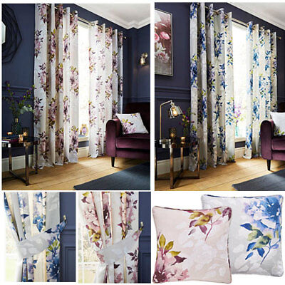 Dark Wonder Wendy Tait Floral Print Eyelet Ring Top Curtains (Pair) Ready Made • 20£
