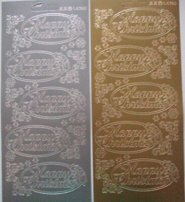 £2.40 • Buy 2 Sheets Of Happy Christmas Peel-offs In Ovals Large Gold And Silver 10 In Total