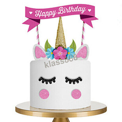 AU7.33 • Buy Cute Unicorn Theme 'Happy Birthday' Cake Topper Set For Party Cake Decorations