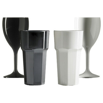 $15.95 • Buy MIXED Set Of 2 Wine And 2 Tumbler Glasses In Black And White RB Unbreakable Re