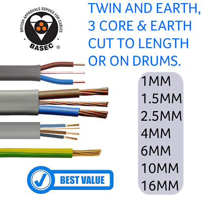 £5.95 • Buy Twin And Earth Cable 1mm 2.5mm 4mm 6mm 10mm 16mm | Lengths And Drums - All Sizes