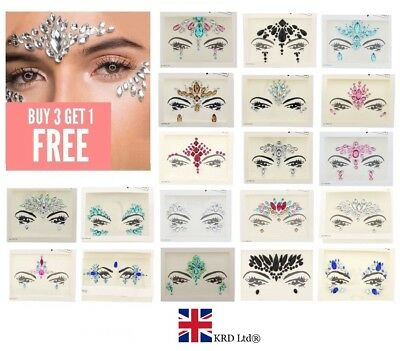 £4.02 • Buy FACE GEMS Adhesive Glitter Jewel Tattoo Sticker Festival Rave Party Body Make Up