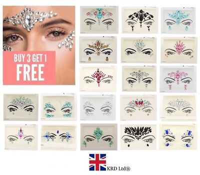 FACE GEMS Adhesive Glitter Jewel Tattoo Sticker Festival Rave Party Body Make Up • 3£