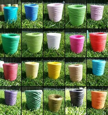 Raffia Ribbon Eco Paper VALUE 200m ROLL Great For Crafts Scrapbooks Decorations • 13.99£