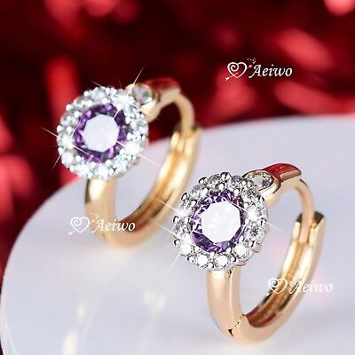 AU12.99 • Buy 18k Yellow White Gold Gf Huggies Purple Crystal Flower Earrings