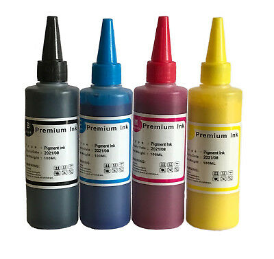 4 X 100ml Pigment Ink For Epson Workforce 2750 2650 2630 2510 2530 2010 Printers • 9.99£