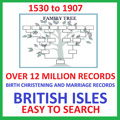 Genealogy Family Tree Records Of Births Christenings And Marriages Download • 4.99£