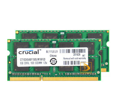 AU79.80 • Buy Crucial 16GB 2X 8GB Notebook Memory Upgrade PC3L-12800S SODIMM RAM DDR3L 1600Mhz
