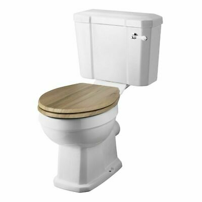 Rockingham Close Coupled Toilet & Natural Walnut Wooden Seat • 307.67£