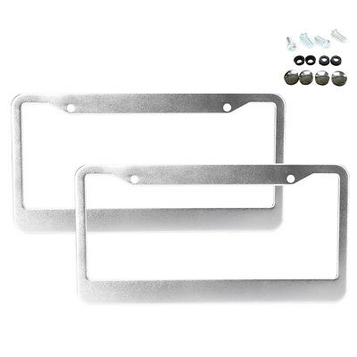 $7.64 • Buy 2pcs Stainless Steel Metal Silver License Plate Frame Tag Cover Screw Caps