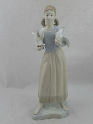 $69.99 • Buy Zaphir Lladro Girl With Birds Doves Porcelain Figurine 14  Tall