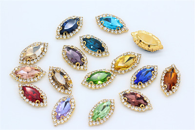 10pcs 7x15mm Sew On Rhinestone Navette Cabochons Crystal Glass DIY Dress Bling • 3.12£