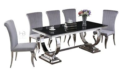 £139.99 • Buy Arianna Black Glass Chrome Steel Dining Table & 4, 6, 8 Black / Grey Chairs
