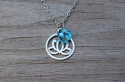 $ CDN13.14 • Buy Lotus Flower Necklace, Yoga Necklace, Yogi Gift, Silver Tone, Spiritual Jewelry