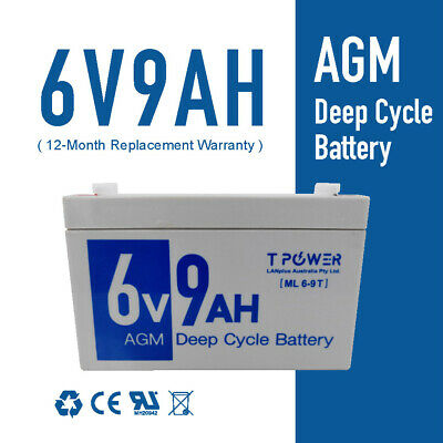 AU26.95 • Buy 6V 9AH AGM Lead Acid Battery Same Size As 6V 7Ah F UPS APC Alarm Toy Car