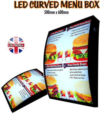 LED Curved Menu Box Illuminated Board Sign Restaurant Take Away High Quality • 165£