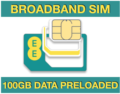 £27.39 • Buy EE Broadband Sim Card, Preloaded With 100GB Data For MIFI WIFI ROUTERS TABLETS